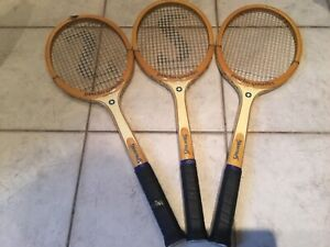 THREE NEW WOODEN  TENNIS RACKETS Spalding Signature Pancho Gonzales Vintage