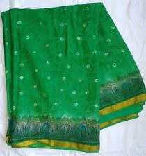 Green Gold Sari Indian Saree Bollywood Fabric Panel Drape