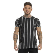 GINGTTO Men Slim Fit T Shirt Short Sleeve Muscle Crew Neck Striped Stylish Top