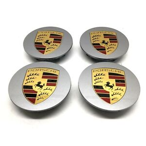Set Of New Genuine Porsche GT Silver Flat Crested Centre Caps 9P1601149AM7Z