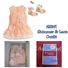 NEW American Girl Doll Peach Orange Shimmer and & Lace Party Dress
