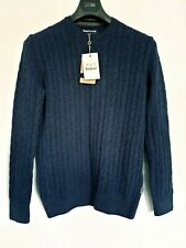 Barbour Mens Jumper Sweater Top Chunky Knit Blue New with Tags Small