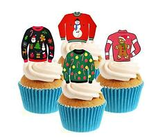 Novelty Christmas Jumper Collection 12 Edible Stand Up wafer paper cake toppers