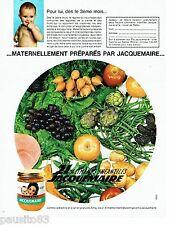 PUBLICITE ADVERTISING 116  1962  Jacquemaire petits pots bébé