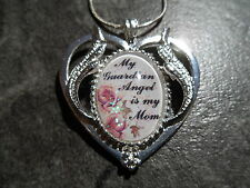 "HEART WITH ANGEL WINGS NECKLACE MY GUARDIAN ANGEL IS MY MOM 20"" CHAIN"
