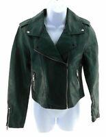 Romeo + Juliet Couture Biker Jacket Womens Hunter Green Faux Leather
