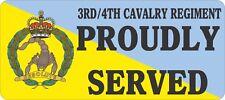 3RD/4TH CAVALRY REGIMENT PROUDLY SERVED UV LAMINATED VINYL STICKER 80MM X180MM