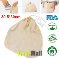 Organic Cotton Nut Milk Bag Reusable Food Strainer Brew Coffee Cheese Cloth New