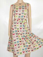 LAURA ASHLEY BUTTERFLIES NOVELTY PRINT BELTED COTTON/LINEN BLEND SUMMER DRESS,16