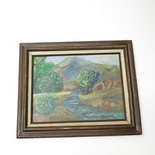 Vintage Tree Water Stream Forest Landscape Oil Painting Framed