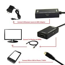 New 1080P Mini Micro USB 2.0 MHL to HDMI HDTV Adapter Cable 150MM US