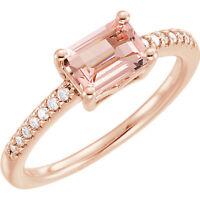 Genuine Morganite 5x7 mm Emerald Cut Gem & 1/10 ctw Diamonds 14K. Rose Gold Ring
