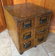 Antique 6 Drawer Globe Library Card File Cabinet, Oak Grain Metal