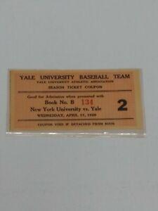 Extreamly Rare, April 17 1929 Yale vs NY  Baseball Team Season Ticket Coupon