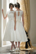 Vintage Tea length White/Ivory Lace Short Gown Wedding Dress Bridal Gown Size 6+