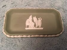 Wedgwood Sage Green Jasperware Rectangular Pin Tray Dish