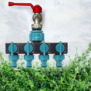 4 Way Water Tap Hose Connector Fitting Garden Irrigation Valve Diverter
