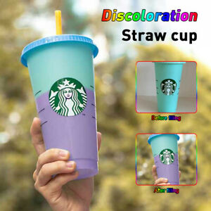 24 fl oz/16 fl oz Starbucks Logo Reusable Plastic Cold Cup With Lid+Straw cup US
