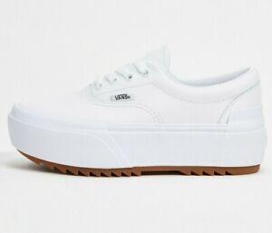Vans Era Stacked Platform Shoes Women's Size 7.5 Leather True White