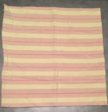 "Ralph Lauren Pillow Cover 22"" Square Woven Cotton Yellow Peach Stripe CUTE!"