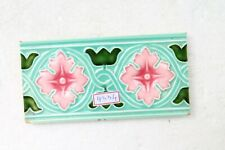 TILE JAPAN DK MAJOLICA VINTAGE CERAMIC PORCELAIN BORDER FLOWER DESIGN NH4334