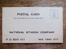 Early 1900s National Corn Starch Company Mail-In Kingsford Cookbook Postcard Ad