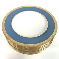 Lenox Expressly for Ovington Bros. Gold & Cyan, Bright Blue Dinner Plates Set 12