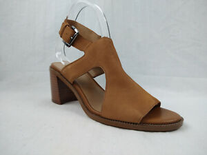 Franco Sarto Hermosa Brown Leather Block Heel Sandal Women's Size 8.5 M MSRP $90