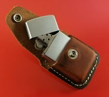 Vintage Full Size Zippo Lighter In Heavy Duty Leather Belt Holder Frosted Silver