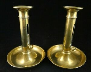 Pr. Antique English Geo IV Solid Brass Candlesticks w/ push-up ejectors. 6 5/8?