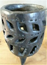 """Vintage Black Clay Mexico Votive Hand Made Pottery Candle Holder 3.5"""""""