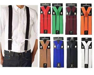 "1X Adult Mens Clip-on 1.5"" WIDE Suspenders Elastic Y-Shape Suspender New"