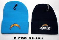 READ LISTING! Los Angeles Chargers HEAT Set Flat Logos on 2 Beanie Knit Cap hat!