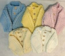 Hand Knitted New Born Baby Aran Cardigans In Cream Pink Blue White Or Lemon