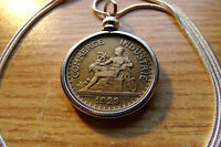 """1920-1927 French Chamber of Commerce Franc Pendant on a 28"""" Snake Chain"""