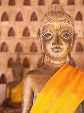 PHOTOGRAPH BUDDHA STATUE YELLOW SCULPTURE ART POSTER PRINT LV3539