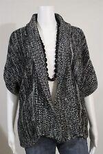 Vertigo Misses MEDIUM Black White Marled Batwing Sleeve Cardigan Sweater