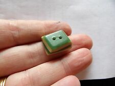 FAB ART DECO TWO TONE CELLULOID OVERLAY GREEN / CREAM OBLONG BUTTON           24