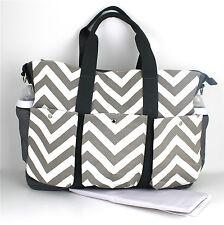 Nappy Diaper Bag Large Double 3 pocket Chevron Changing Bag & FREE Mat