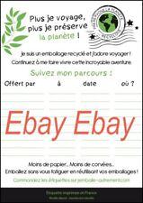 """Lot de 1000 étiquettes pour Recyclage emballage cadeau modèle """"Voyage"""""""