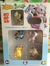 5 Pokemon Figure Set Mewtwo Clear GLOWS Blastoise Mew Pikachu Meowth Pack Box