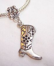 Cowboy Boot Western Shoe Dangle Bead fits Silver European Style Charm Bracelets