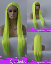 """24"""" Lace Front Wig Heat Resistant Cosplay Light Yellow Long Straight Lace Wig"""