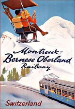 Art Ad Montreux Bernese Oberland Switzerland Ski Skiing Travel   Poster Print
