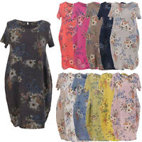 Ladies Italian Linen Dress Ribbed Short Sleeves Sides Women Floral Lagenlook Top