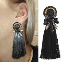 Women Fashion Tassel Boho Style Earrings Big Fringe Crystal Ear Drop Jewelry