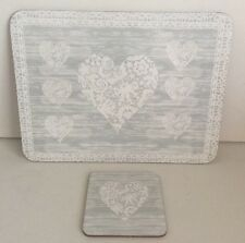 Grey Vintage Heart 6 Placemats & 6 Coasters Cork Backed