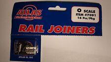 O-SCALE ATLAS #7091 METAL RAIL JOINERS NICKEL SILVER 16 Pcs/Pkg 2 RAIL CODE 148