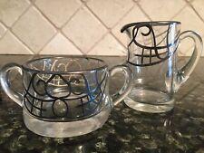 Vintage Mid Century Glass Sterling Silver Overlay Creamer Pitcher Sugar Set
