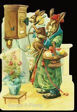 German Embossed Scrap Die Cut - Lrg Mom / Child Easter Bunny On Telephone BK5114